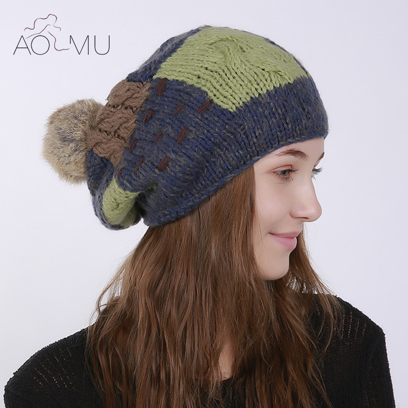 AOMU Autumn Winter Warm Cap Woman Wool Knitted Beanie Cap Braided Hat Skull Winter Hats for Women Ladies Girls Fashion Gifts knitted winter autumn female hat plaid lace beanie cap woman chunky baggy cap skull gorros de lana mujer femme beanies cap