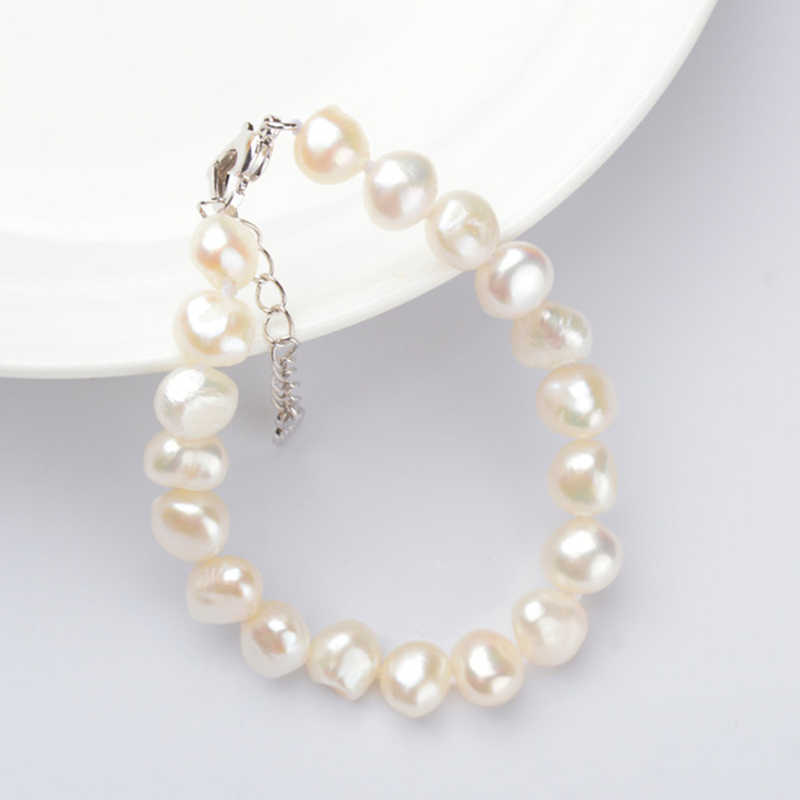 ASHIQI Genuine Natural Baroque Pearl Bracelets For Women 9-10mm White Freshwater Pearl Jewelry Gift