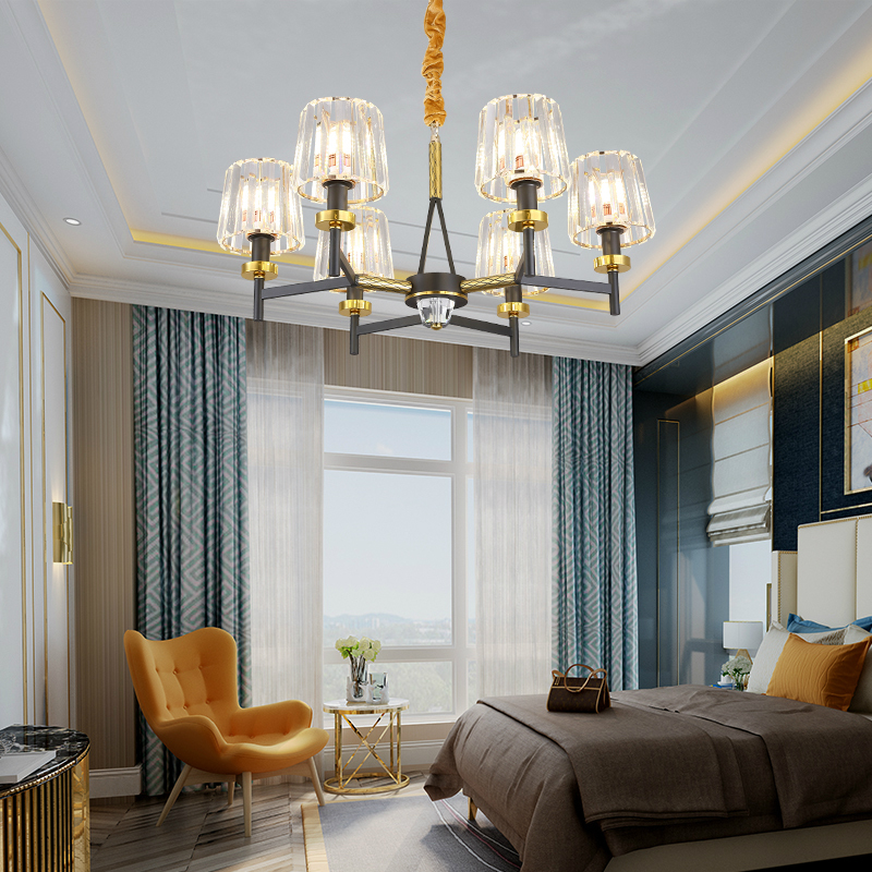 Post Modern LED Chandelier light 6 8 15 heads crystal lampshade LED Full copper light hotel dinning room hall home decotation in Chandeliers from Lights Lighting
