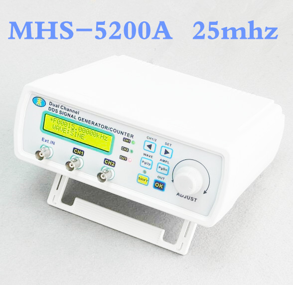 ФОТО MHS-5200A High Precision Digital DDS Dual-channel Signal Source Generator Arbitrary Waveform Frequency Meter 50% OFF