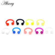 Alisouy 1pc Acrylic Captive Bead Ring BCR Punk Nose Ear Eyebrow Lip Nipple Clicker Septum Piercing Body Jewelry Earrings(China)