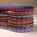 ZAKKA accesorios hechos a mano DIY bordado étnico moda tejida de poliéster cinta jacquard 1 cm 18 yardas/lot Retro doble del color