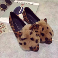 New Falts women's shoes Leopard pointed flat with shallow mouth rabbit Loafers soft bottom casual women shoes