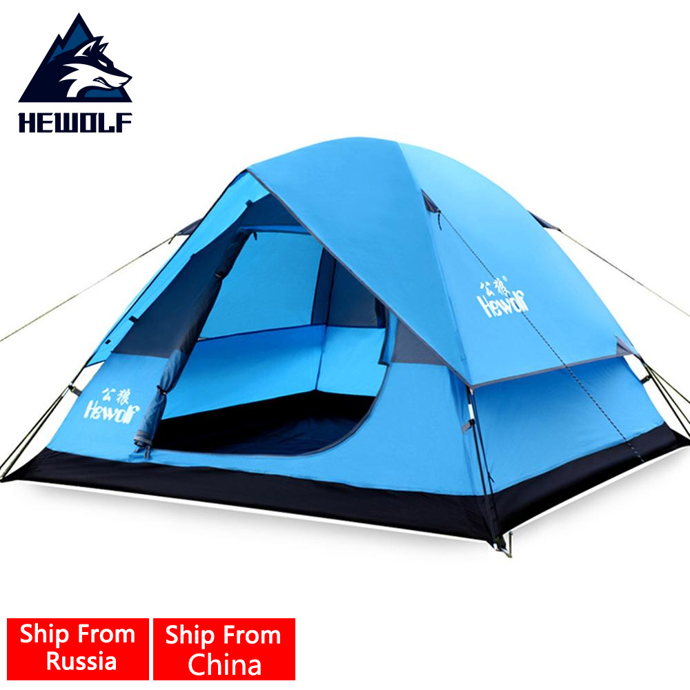 Hewolf 3 In 1 Camping Tent Ultra Anti-UV Double Layer Outdoor Hiking Beach  Waterproof Tent 3 Person Large Barraca Para Camping high quality outdoor 2 person camping tent double layer aluminum rod ultralight tent with snow skirt oneroad windsnow 2 plus