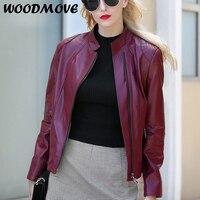 Women Genuine Leather Jacket Ladies Zippers Genuine Women Sheep Leather Jacket 100% Real Sheep Leather Jacket