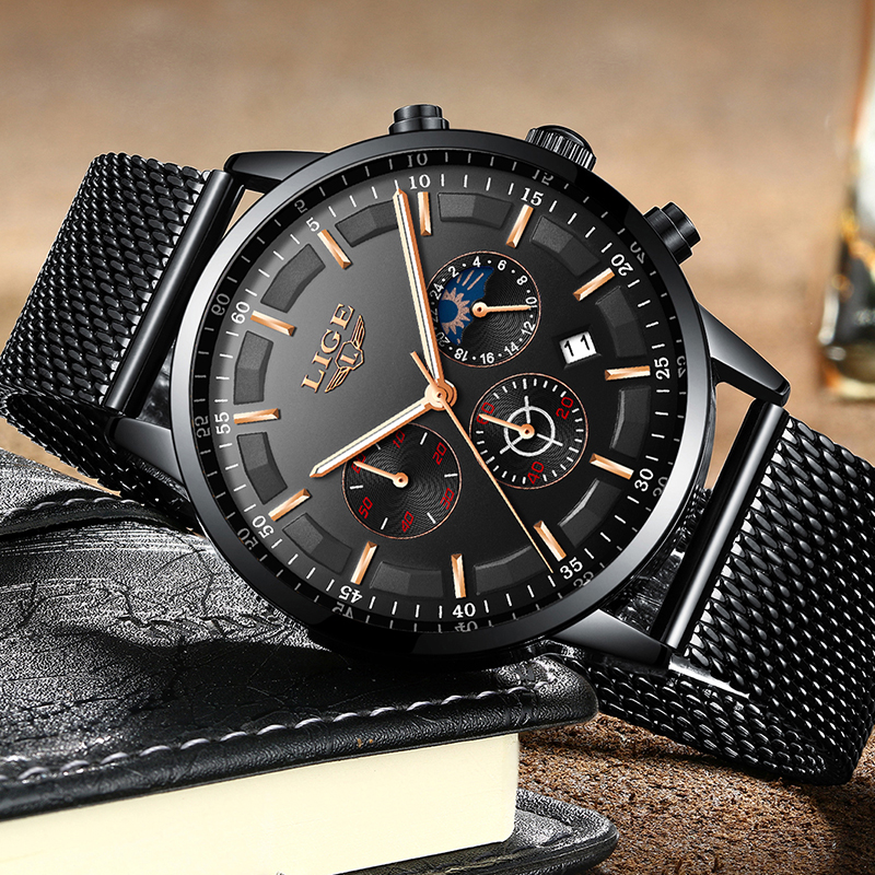 Image 5 - Relogio LIGE Mens Watches Top Brand Luxury Casual Quartz Wristwatch Men Fashion Stainless Steel Waterproof Sport Chronograph+Box-in Quartz Watches from Watches