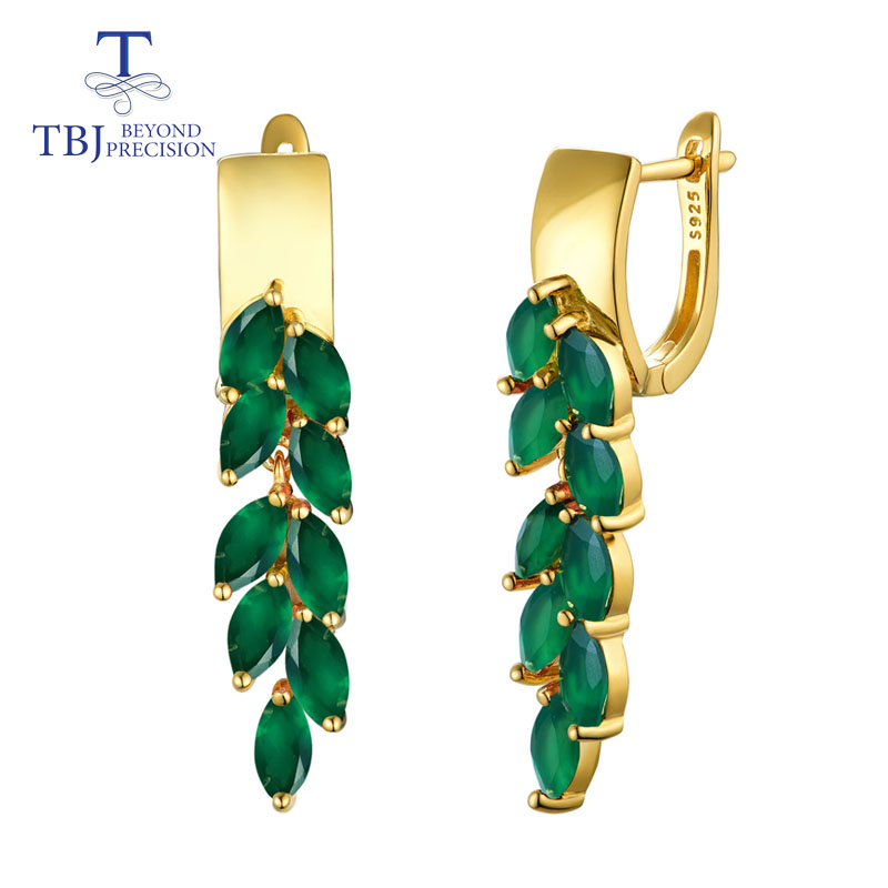 TBJ,natural green agate gemstone clasp drop Earrings 925 Sterling Silver Fashion fine Jewelry Gift For Women wife party wear(China)