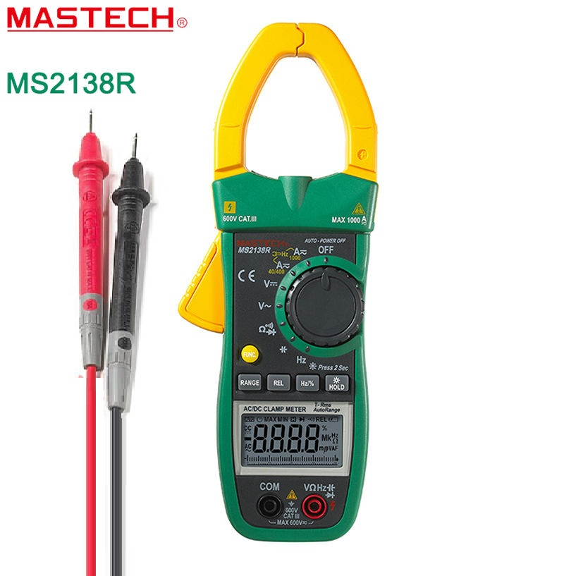 Digital Clamp Meter AC DC Clamp Meter Multimeter 4000 Counts Voltage Current Capacitance Resistance Tester MASTECH MS2138R mastech ms2138 digital 1000a ac dc clamp meter multimeter electrical current 4000 counts voltage tester with high performance