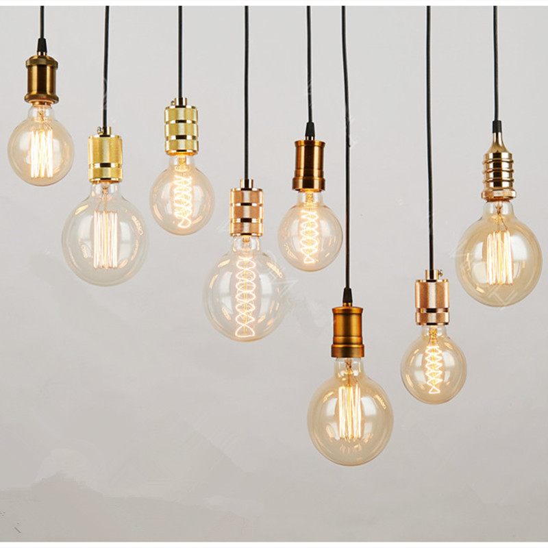 Contracted pendant lamp hanging edison shell lamp holder for Lampe suspension ampoule