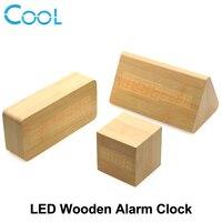 Wooden LED Alarm Clock Electronic Desktop Digital Table Clocks Despertador Temperature Sounds Control LED Display
