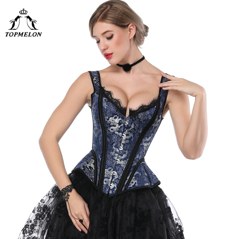 TOPMELON Retro Victorian   Corset   Steampunk Floral Boned   Corsets   Tops Women Lace Strap Slim   Bustiers   Gothic Lace Up Corselet