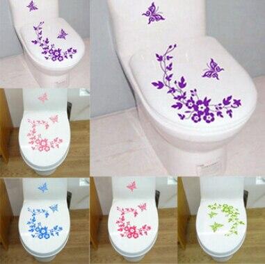 Цветочная лоза Бабочка ванная комната, туалет украшение стены наклейки украшения дома стены таблички для Туалет декоративные наклейки