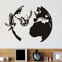 Birds Doves Flying Wall Stickers Self Adhesive Vinyl Decals Peace Symbol Around Globe Kids Bedroom Pvc