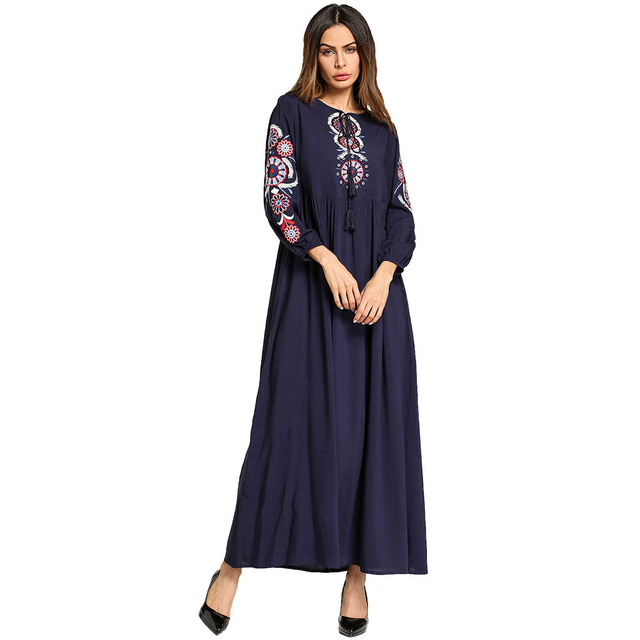787666693ba S-XXL Long Dresses For Women Plus Size Clothing Middle Eastern Muslim Navy  Blue Cotton Embroidered Arabian Robe Dress Femme 5752