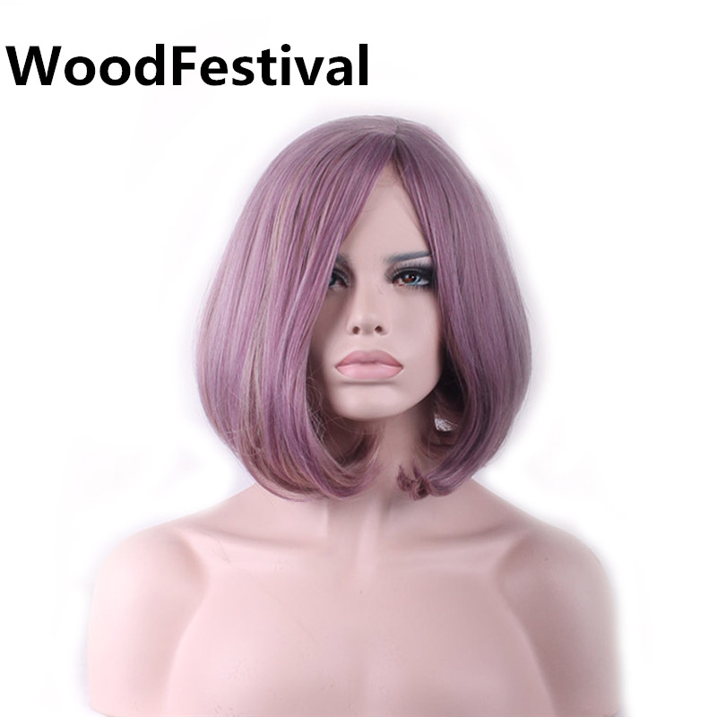 WoodFestival 14 polegada 2 cores Mulheres Taro Roxo Cinza Peruca Sintética Resistente Ao Calor de Fibra de Alta Temperatura Cosplay Perucas Curtas