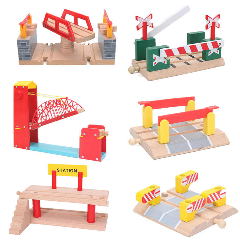Green Bridge Wooden Barrier Parallel Bars Train Track Scene Compatible Wooden Train Tracks Wooden Railway Train Accessories