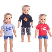 T-shirt Top Jeans Pants for 18 inch Dolls for Girl Doll Clothing Dress Up Dolls Accessories Letter sun(China)