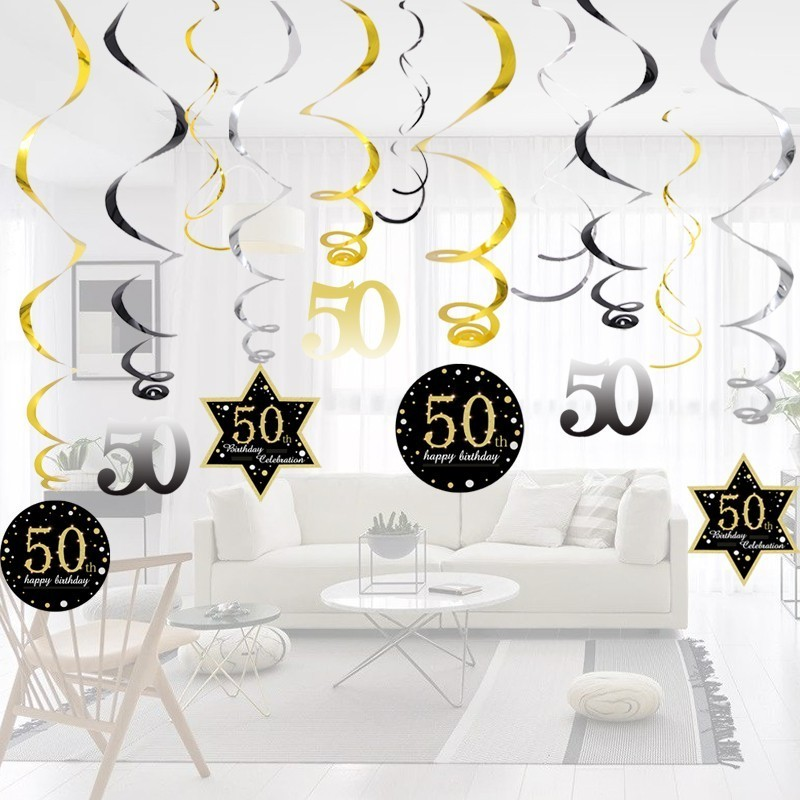Image 3 - Hot!18/30/40/50/60 Year Olds DIY Spiral Ornaments Birthday Confetti Balloon Birthday Balons Anniversary Party Decorations-in Party DIY Decorations from Home & Garden