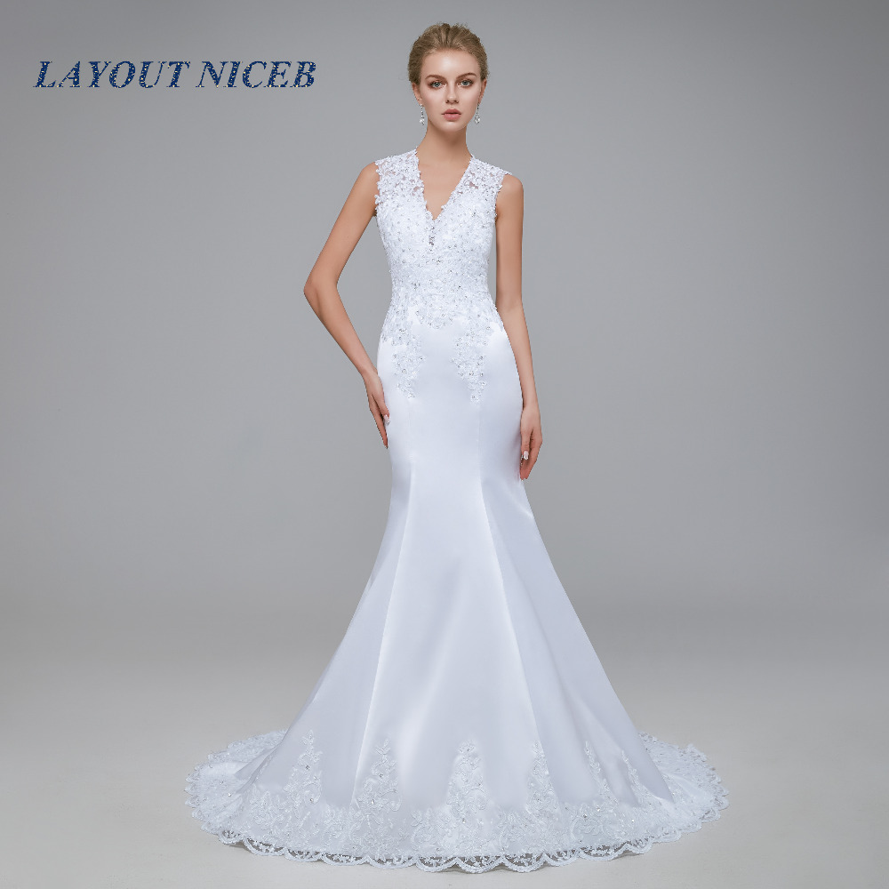 Vestido de Noiva 2018 Satin Mermaid Wedding Dress See Through Bodice Sexy Wedding Gown Robe de mariage White Backless Dresses