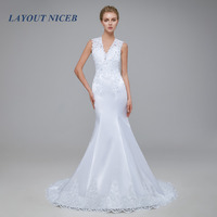 Vestido de Noiva 2018 Satin Mermaid Wedding Dress See Through Bodice Sexy Wedding Gown Robe de mariage White Backless Dresses