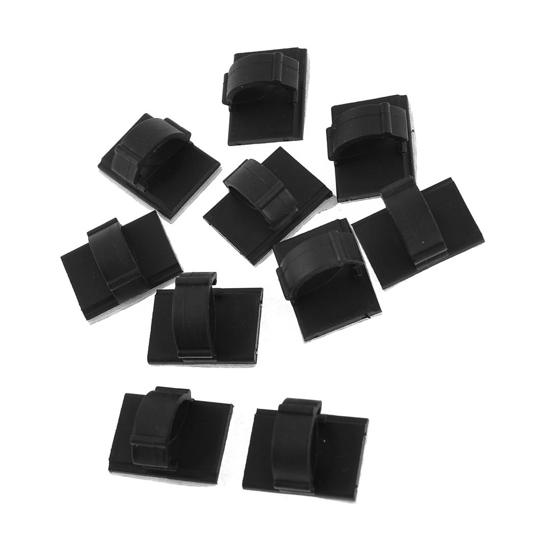 10 Pcs Rectangle Self-adhesive 10mm Cable Tie Mount Clips Black