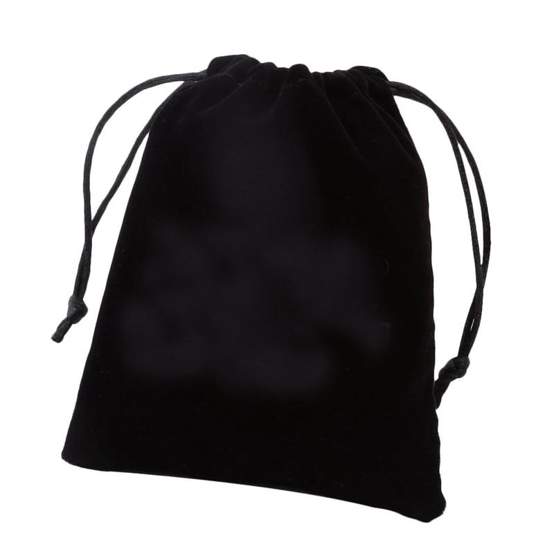 Ayliss New 12x10cm Wholesale Lot Black Velvet Drawstring Pouch Jewelry Packaging Bag Christmas Wedding Handmade Gift Bag
