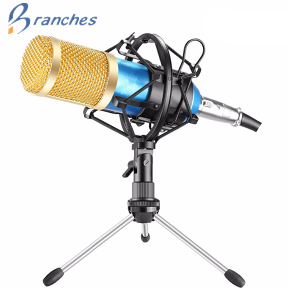 BM800 Microphone Condenser Karaoke Sound Recording With mikrofon Shock mount For Radio Braodcasting BM-800 Singing KTV BM 800 high quality wired condenser sound recording microphone microfone w shock mount for chatting singing karaoke pc laptop 4colors