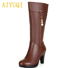 AIYUQI new genuine leather high knee winter boots women. women martin boots. high-heeled wool boots. fashion snow boots women