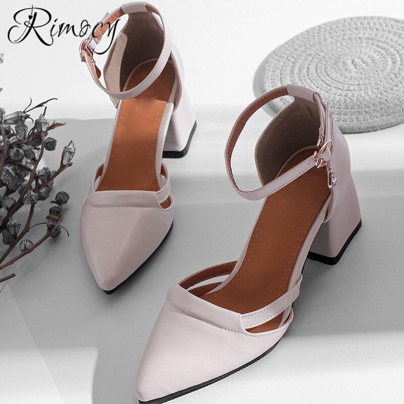 562de6dbb1a9 Rimocy high heels pumps women shoes plus size 33-46 comfortable 6.5cm  square heel