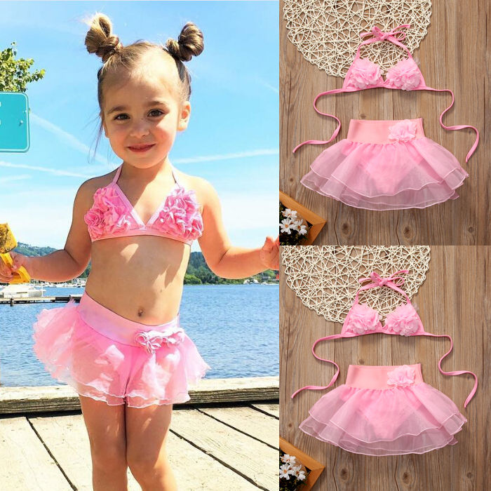 Toddler Kids Baby Girls Solid Lace Floral Halter Tankini Bikini Swimwear Swimsuit Bathing Suit Beachwear bikini girls swimwear kids baby girl striped floral swimsuit swimwear bathing suit bikini set clothes
