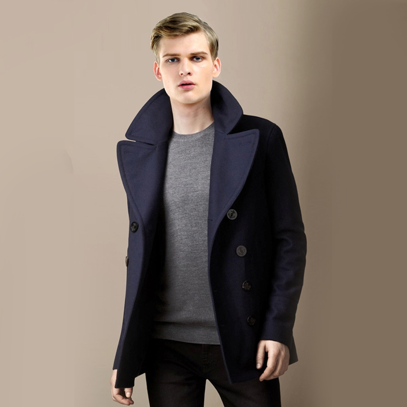 Wool Blending Outerwear Turn-Down Collar Long Sleeve Double Breasted Short Design Navy Wool Coat Solid Color Men Jacket MSTS09
