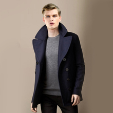MAN Wool Blending Outerwear Turn-Down Collar Long Sleeve Dou