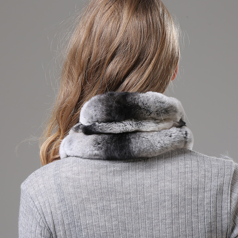 [Rancyword] Winter Women Scarf Ring Real Rex Rabbit Fur Neckerchief Warm Natural Fur Collar Scarves Women 2018 RC1382