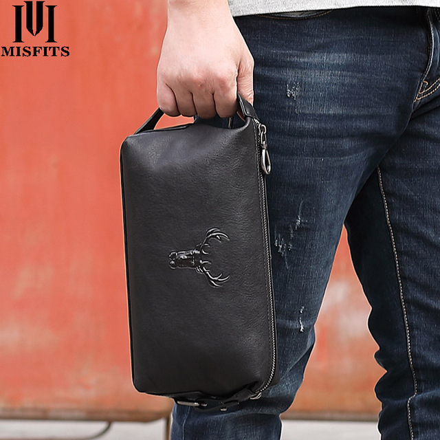MISFITS 100% genuine leather men makeup bags high quality cow leather cosmetic bag travel casual toiletry case for male wash bag