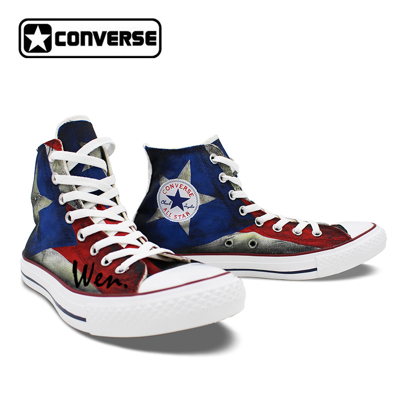 USA Puerto Rico Flag Converse All Star Custom Design Hand
