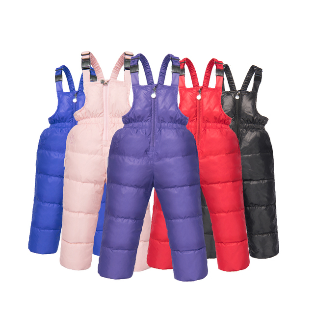 Winter Children's Pants Kids Down Overall For Baby Boys  Girls Russia Winter Clothes  Children Warm Trousers for 3-6 Years Kids