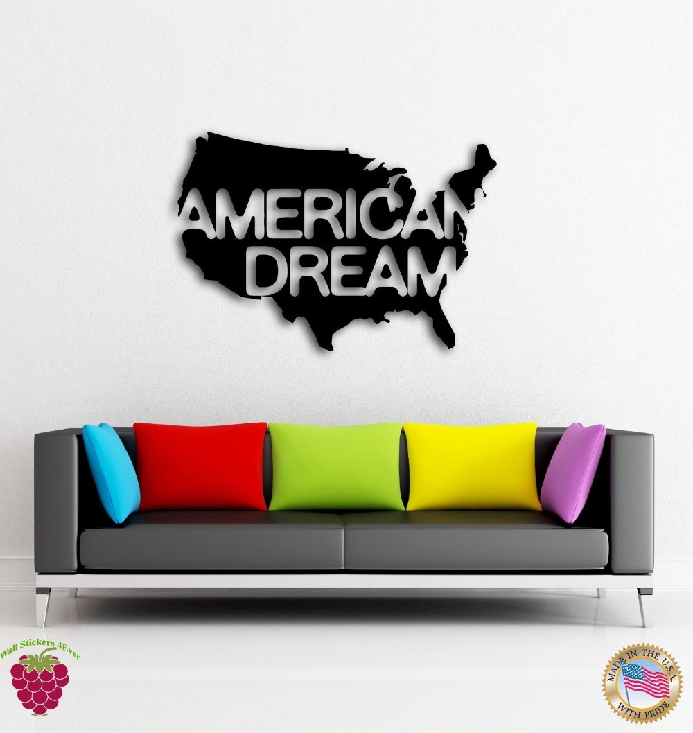 Wall Stickers Vinyl Map United States American Dream Coolest Decor For You