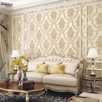 beibehang Large living room bedroom study wallpaper luxury European 3D non-woven fabric simple TV backdrop wall wallpaper