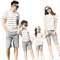 New Summer striped Family Matching Outfits cotton mother Girl father Boy clothes sets T shirt + shorts Pants Gray