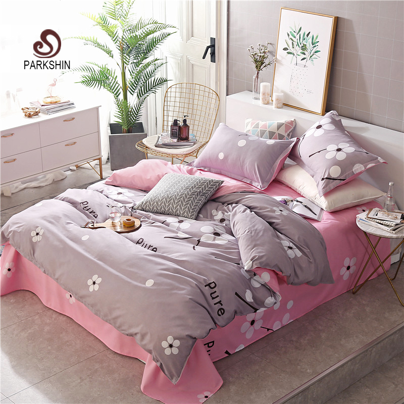 ParkShin Fashion Flowers Elegant Gray Bedding Set Comforter Duvet Cover Active Printing Set Bed Linen Bedclothes Multi Sizes