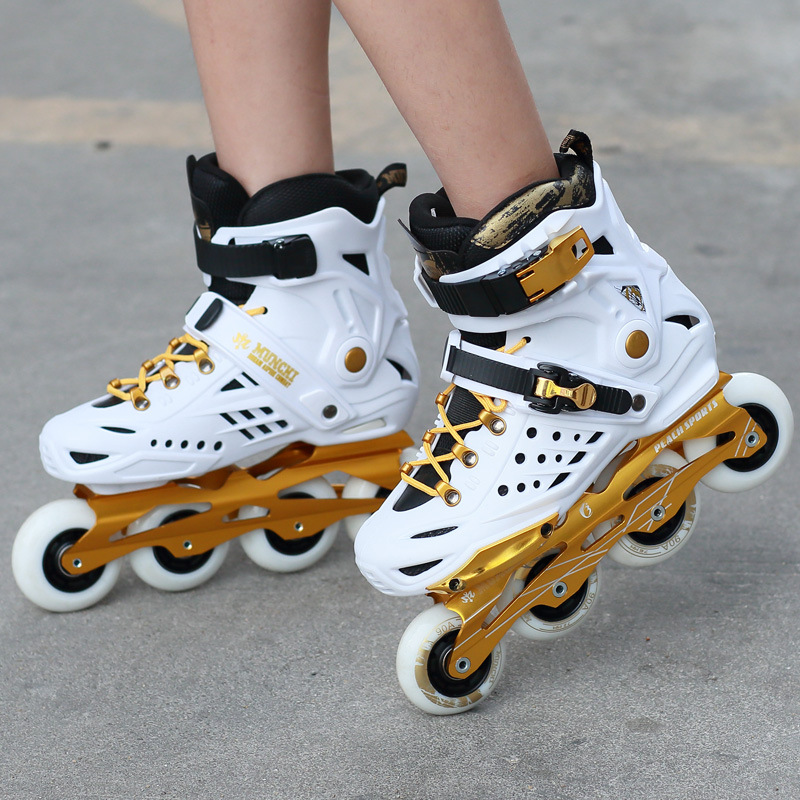 Patins de Slalom en ligne adultes de couleur noire blanche chaussure de patinage à roulettes chaussures de Slalom de haute qualité