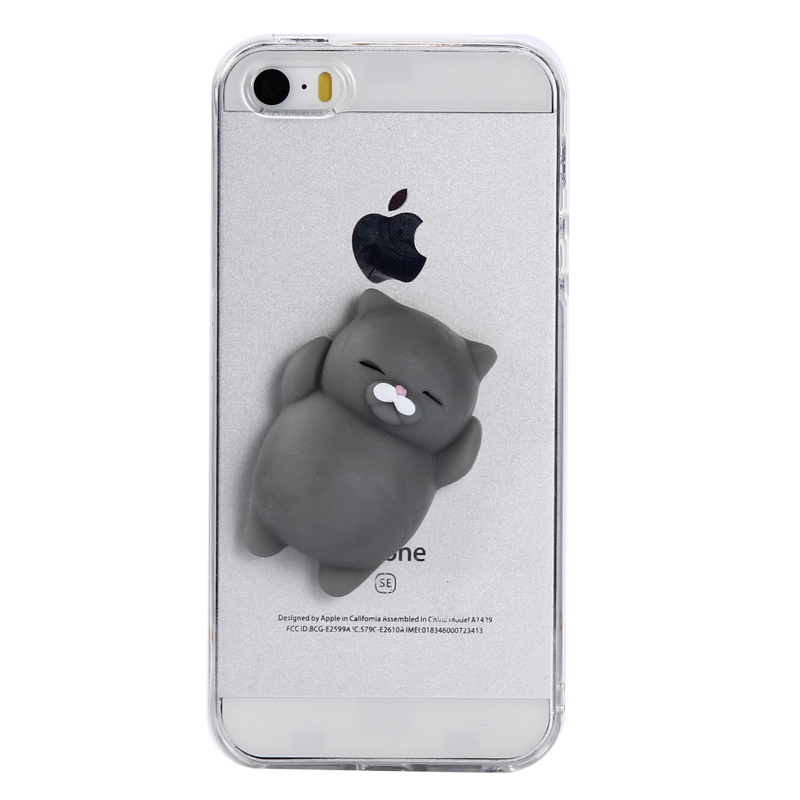 Squishy Case For Iphone 5s : 3D Cat Case For iPhone 5s 5 Stress Reliever Squishy Case Lovely Cartoon Soft Cat Cases For ...