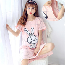 Summer Maternity Thin Cotton Nursing nightgown Lactation walking dress Large size Pregnant Women Rabbit Pajamas Short Sleeves