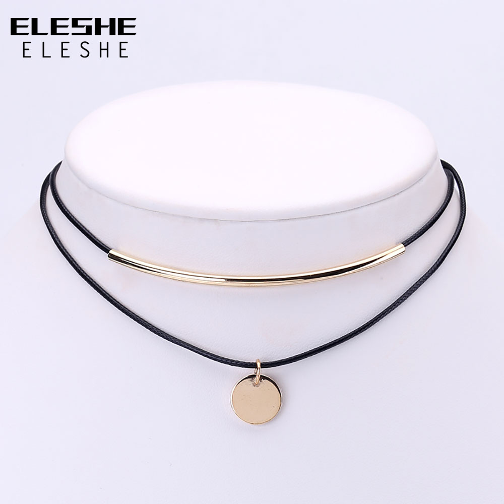 ELESHE Boho Choker Gold Coins Pendant Shell Choker Necklace s