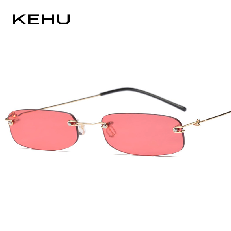 KEHU Women Square Sunglasses Compact Sun Glasses Yellow Sunglasses Borderless Eyeglasses Fashion Trend Alloy Frame Glasses K9633