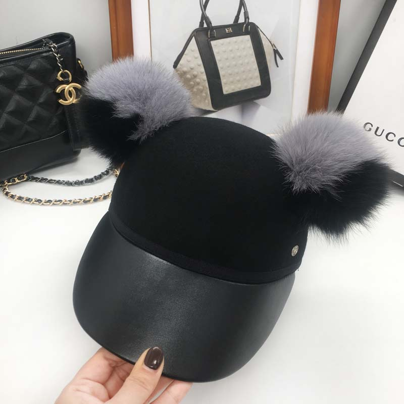 The new leather stitching felt trilby baseball cap warm horseman hat black ash hair bulb street female hat princess hat skullies new winter warm hat wool leather hat rabbit hair hat fashion cap fpc018