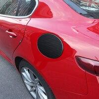Brand New Real Carbon Fiber Gas Fuel Cap Door Cover Pad Decal Sticker For Alfa Romeo Giulia