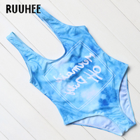 RUUHEE Brand 2017 New Sexy Letter Swimwear Women Set Summer One Piece Swimsuits Top Backless Swimming