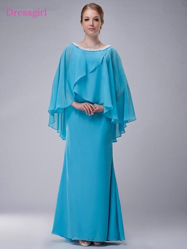Blue 2019 Mother Of The Bride Dresses Sheath Chiffon Beaded With Jacket Long Elegant Groom Mother Dresses Wedding