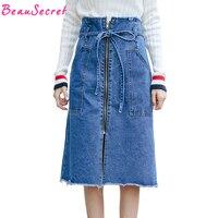 Coréenne Vintage Denim Jupe Femmes Midi Dentelle Up A-ligne Jupes Femmes de Zipper Poches Taille Haute Jeans Jupe
